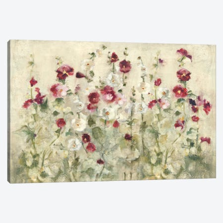 Hollyhocks Row Cool Canvas Print #WAC3822} by Cheri Blum Canvas Artwork