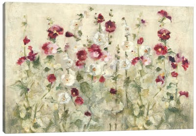 Hollyhocks Row Cool Canvas Art Print