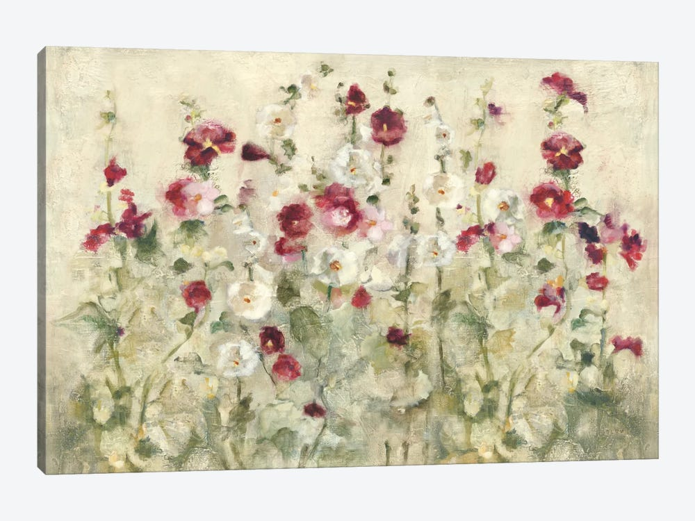 Hollyhocks Row Cool by Cheri Blum 1-piece Art Print
