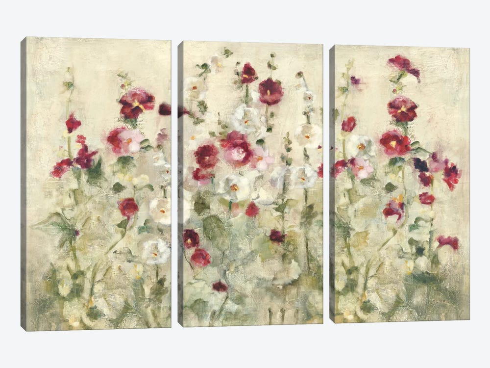Hollyhocks Row Cool by Cheri Blum 3-piece Art Print