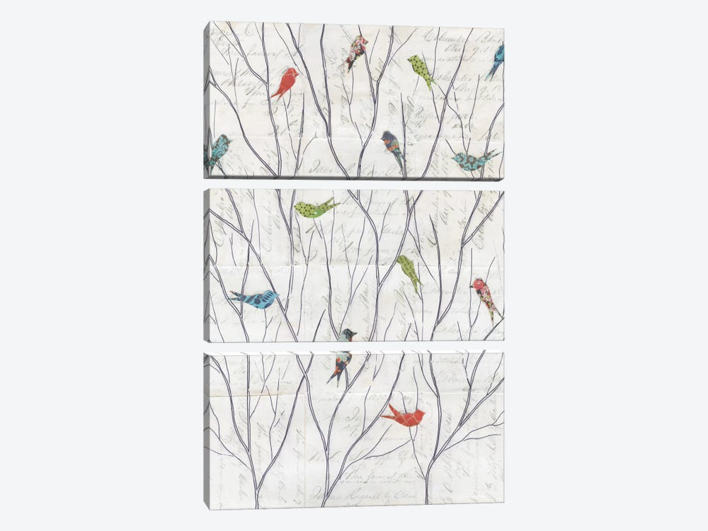 Summer Birds Background I by Courtney Prahl 3-piece Canvas Wall Art