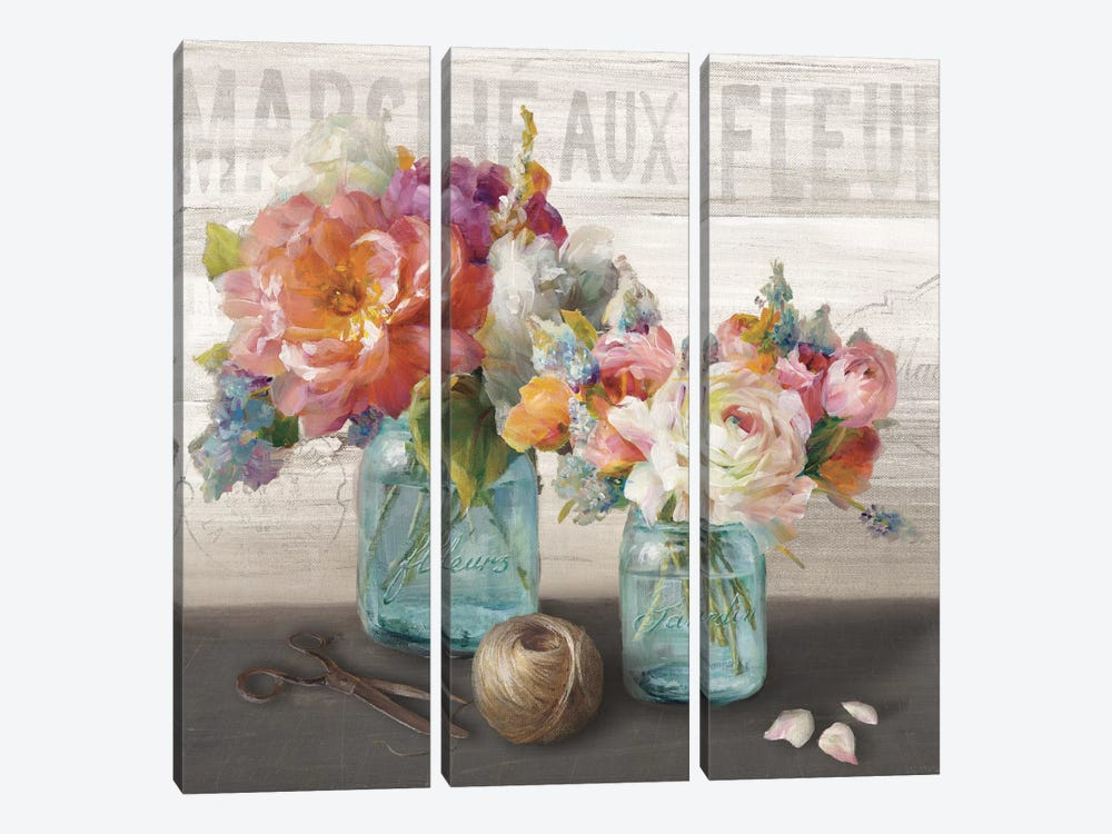 French Cottage Bouquet III by Danhui Nai 3-piece Canvas Print