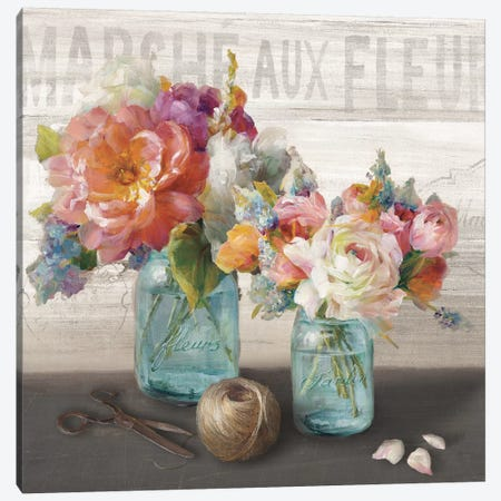 French Cottage Bouquet III Canvas Print #WAC3840} by Danhui Nai Canvas Wall Art