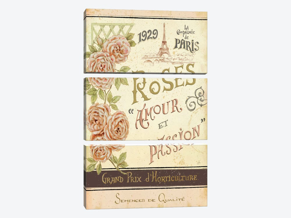 French Seed Packet I  3-piece Canvas Wall Art