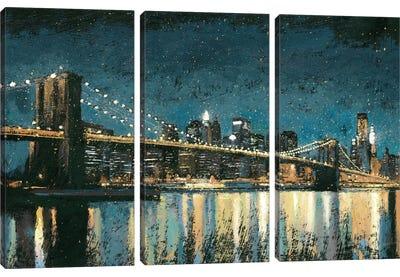 Bright City Lights I (Blue) Canvas Art Print