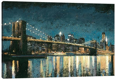 Bright City Lights I (Blue) Canvas Art Print