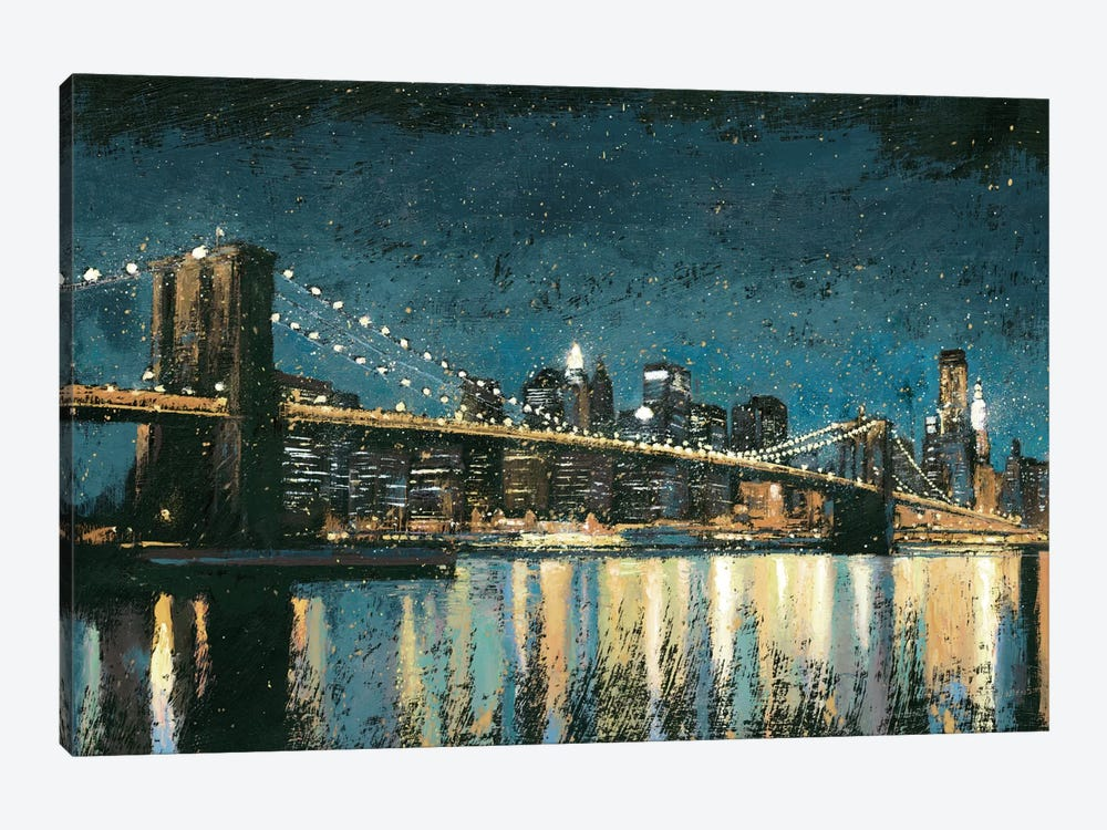 Bright City Lights I (Blue) by James Wiens 1-piece Canvas Art Print