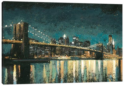 Bright City Lights II (Teal) Canvas Art Print