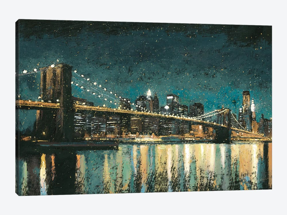 Bright City Lights II (Teal) by James Wiens 1-piece Canvas Artwork