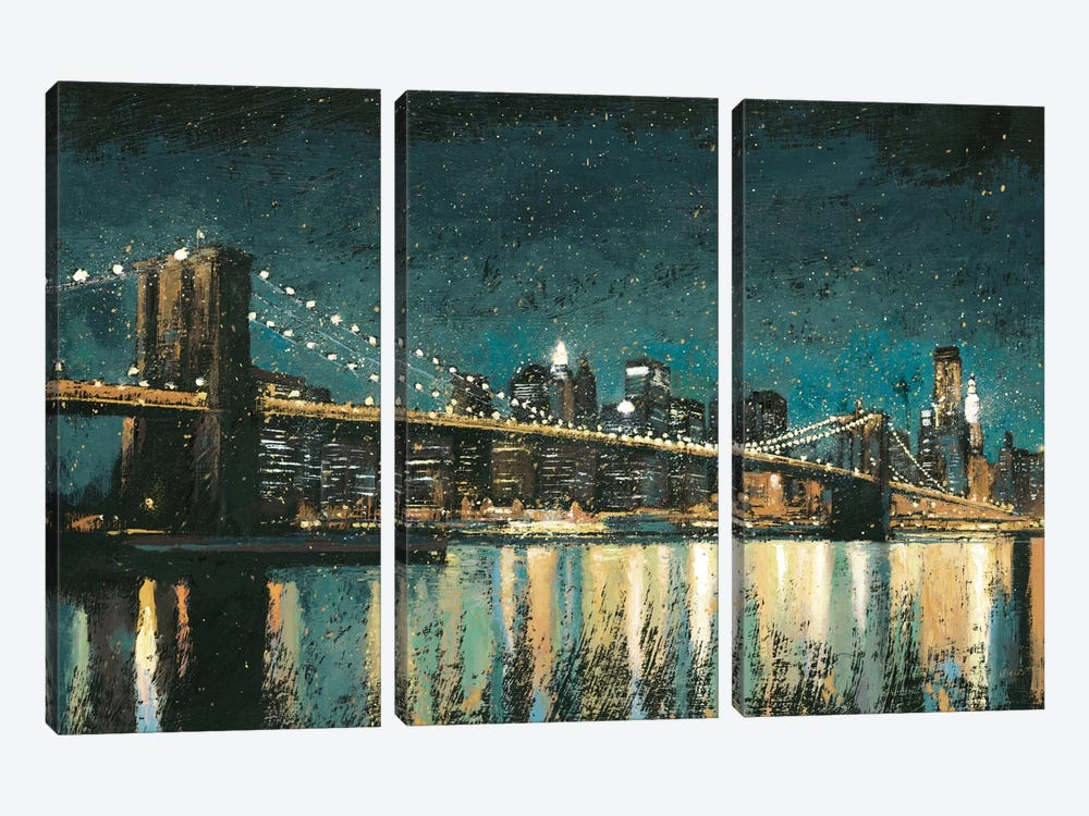 Bright City Lights II (Teal) by James Wiens 3-piece Canvas Wall Art
