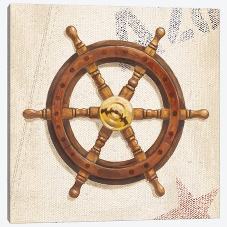 Nautical Wheel Canvas Print #WAC3873} by James Wiens Canvas Art Print