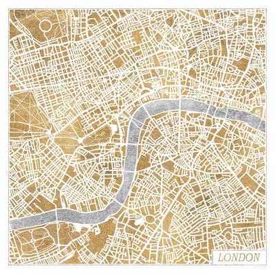 Gilded London Map Canvas Art Print by Laura Marshall | iCanvas