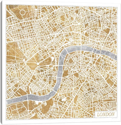 Gilded London Map Canvas Print #WAC3887