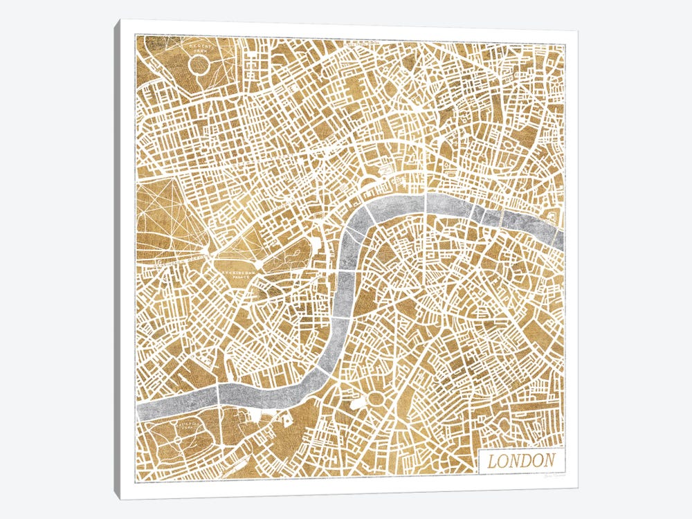 Gilded London Map by Laura Marshall 1-piece Canvas Wall Art