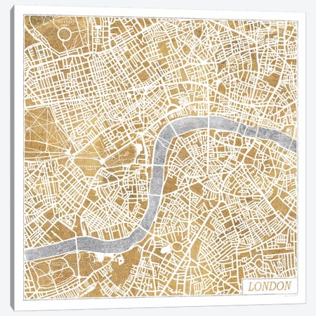 Gilded London Map Canvas Print #WAC3887} by Laura Marshall Art Print