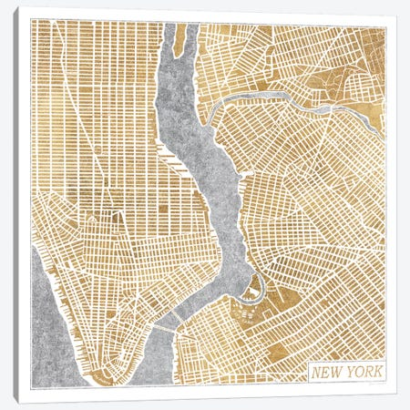 Gilded New York Map Canvas Print #WAC3888} by Laura Marshall Canvas Artwork