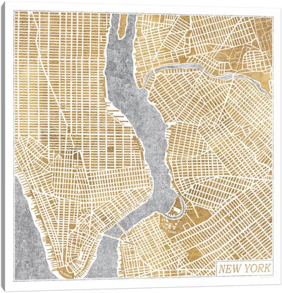 Gilded New York Map Canvas Print #WAC3888