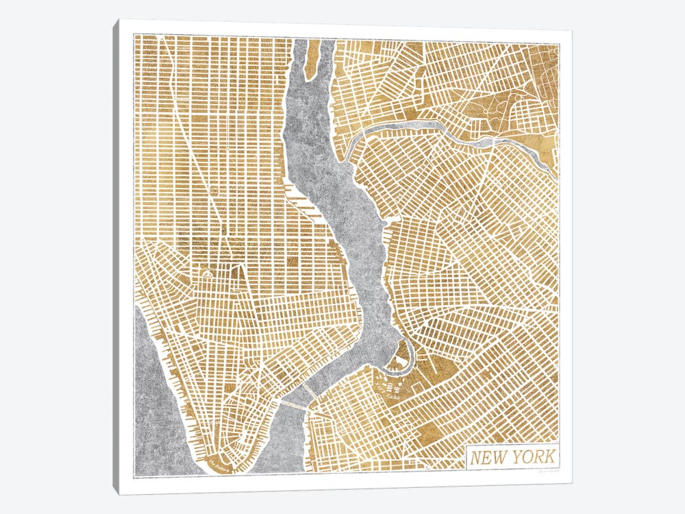 Gilded New York Map by Laura Marshall 1-piece Canvas Print
