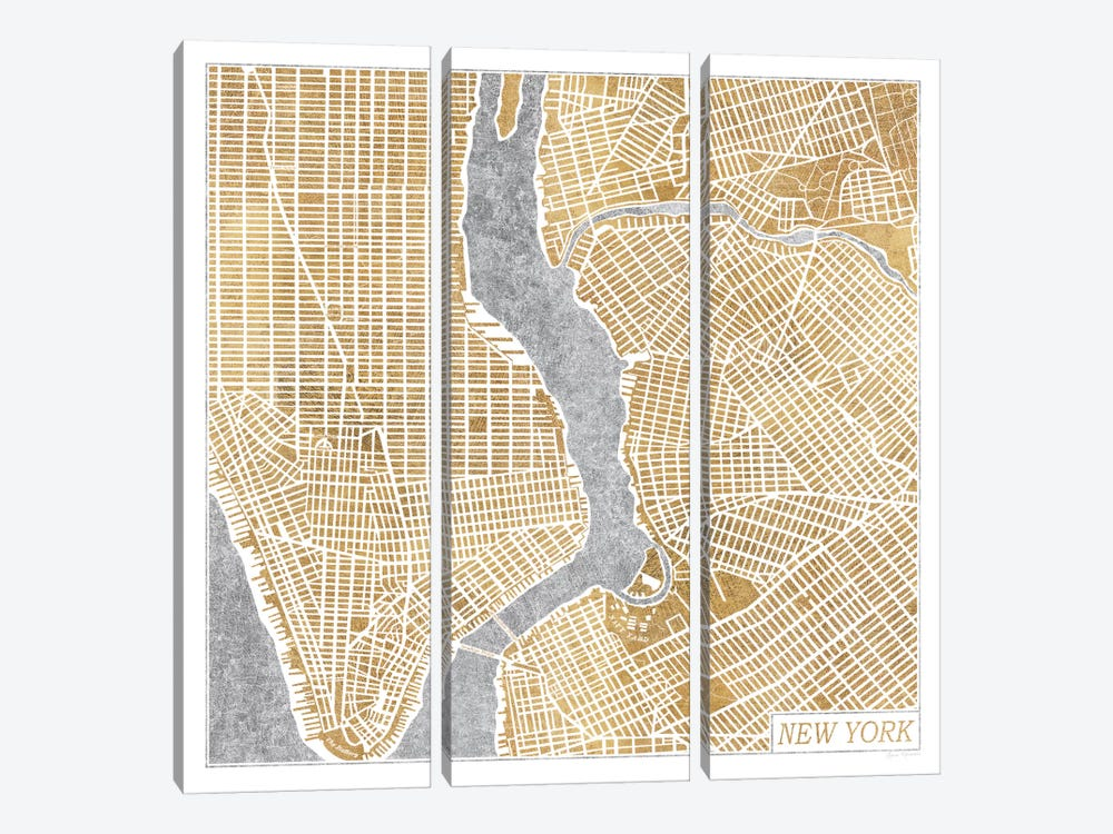 Gilded New York Map by Laura Marshall 3-piece Canvas Print