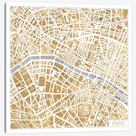 Gilded Paris Map Canvas Print #WAC3889} by Laura Marshall Canvas Wall Art