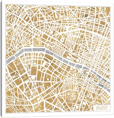 Gilded Paris Map Canvas Art Print