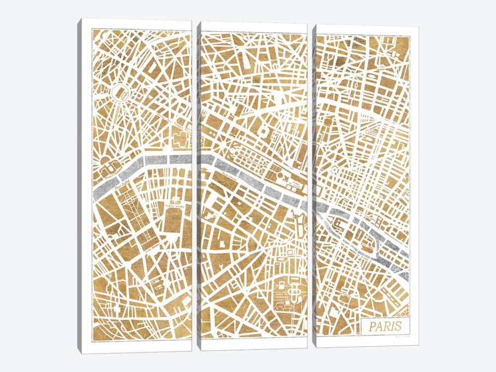 Gilded Paris Map by Laura Marshall 3-piece Canvas Wall Art
