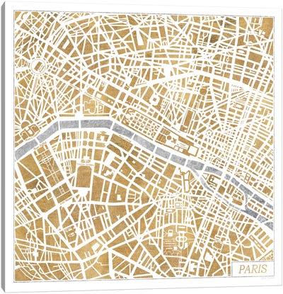Gilded Paris Map Canvas Art Print