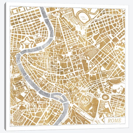 Gilded Rome Map Canvas Print #WAC3890} by Laura Marshall Canvas Art Print