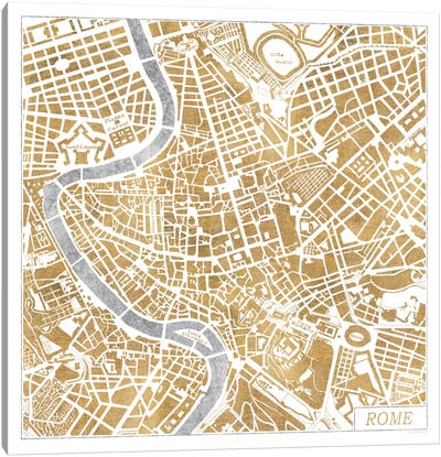 Gilded Rome Map Canvas Print #WAC3890