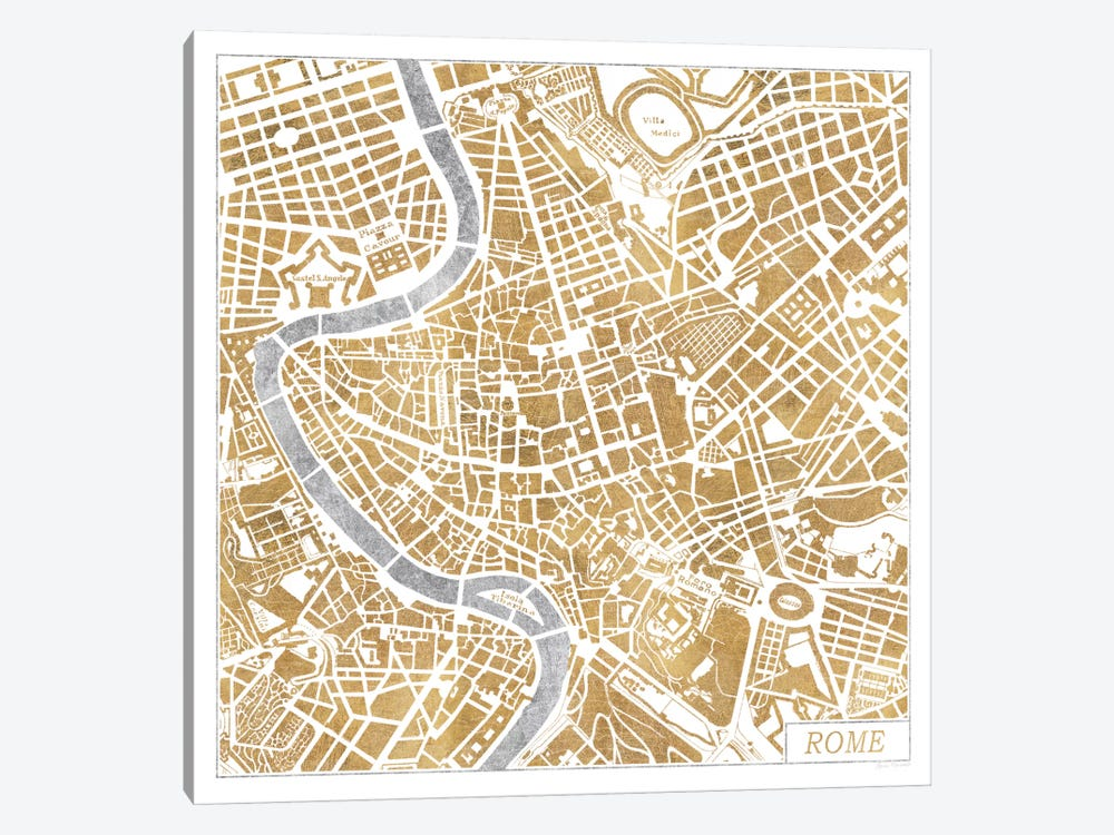 Gilded Rome Map Canvas Print by Laura Marshall | iCanvas