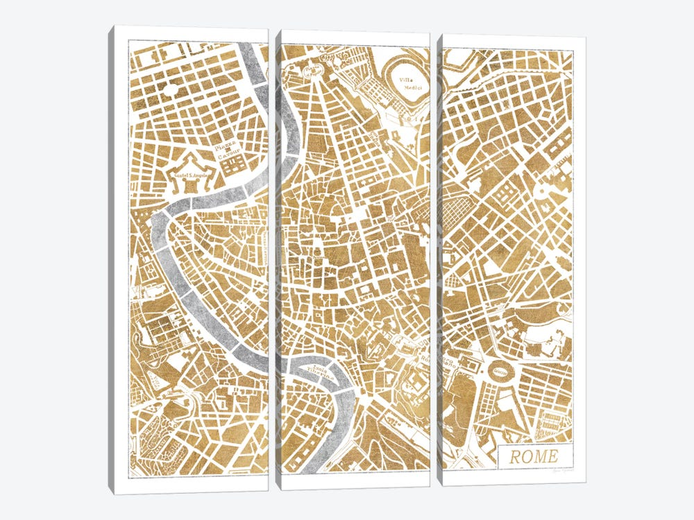 Gilded Rome Map by Laura Marshall 3-piece Canvas Wall Art