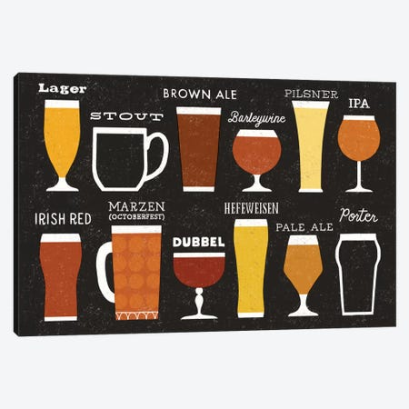 Craft Beer List Canvas Print #WAC3899} by Michael Mullan Canvas Print