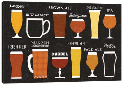 Craft Beer List Canvas Art Print