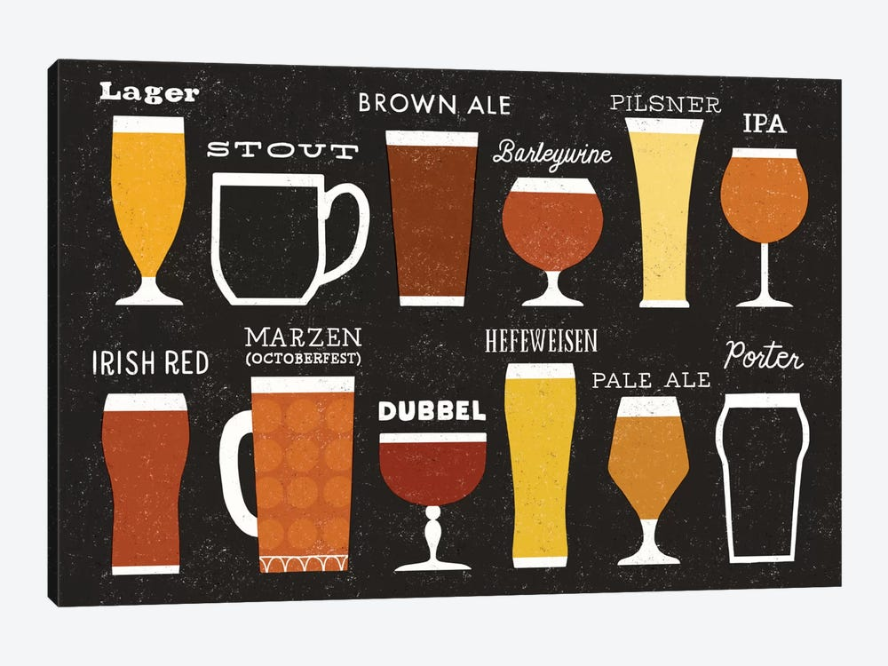 Craft Beer List by Michael Mullan 1-piece Canvas Print