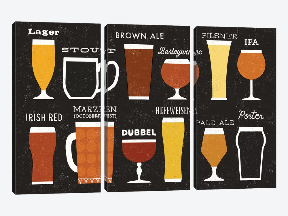 Craft Beer List by Michael Mullan 3-piece Canvas Print