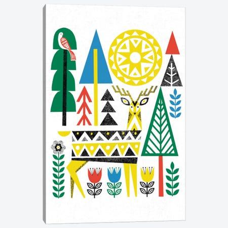 Folk Lodge (Deer I) Canvas Print #WAC3900} by Michael Mullan Canvas Print