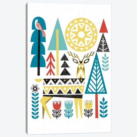 Folk Lodge (Deer II) Canvas Print #WAC3901} by Michael Mullan Art Print