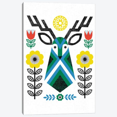 Folk Lodge (Deer III) Canvas Print #WAC3902} by Michael Mullan Canvas Print