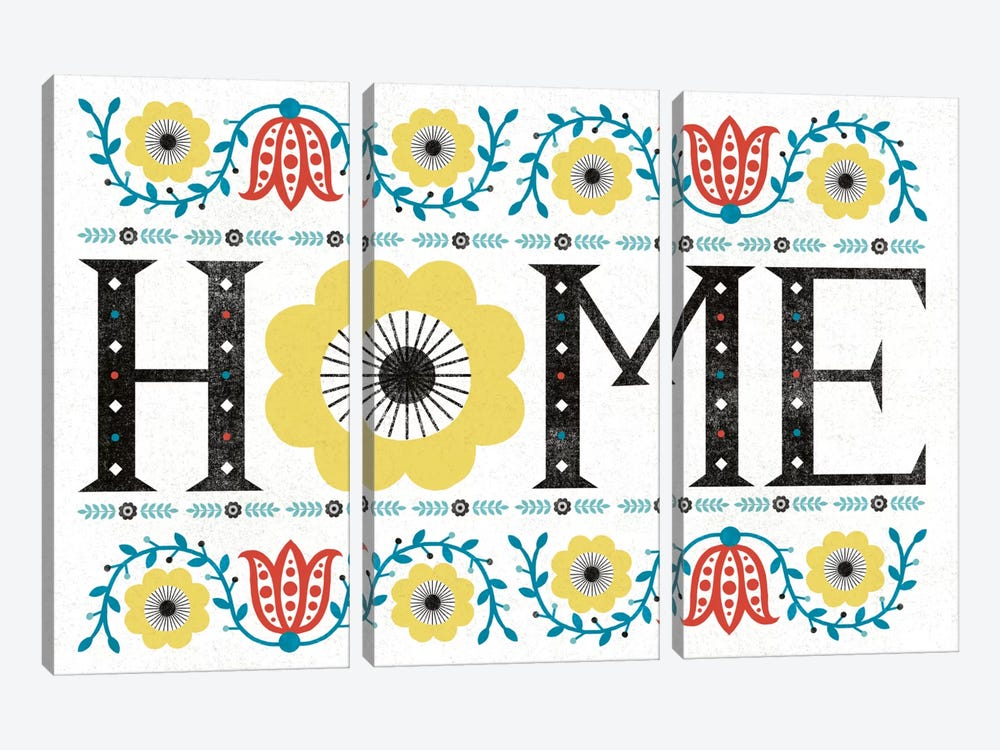 Folk Lodge (Home) by Michael Mullan 3-piece Canvas Wall Art