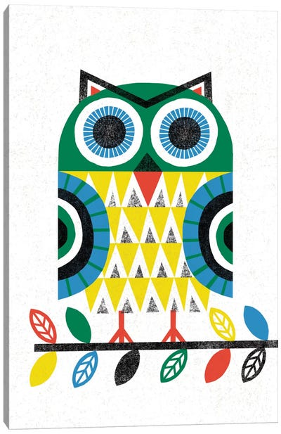 Folk Lodge (Owl I) Canvas Print #WAC3905