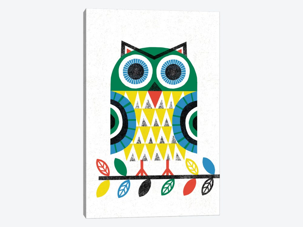 Folk Lodge (Owl I) 1-piece Canvas Art Print