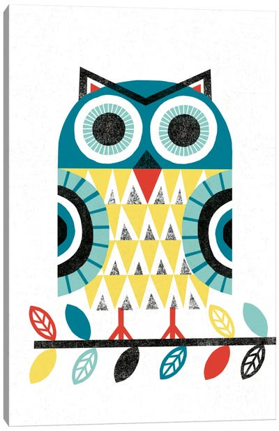 Folk Lodge (Owl II) Canvas Print #WAC3906