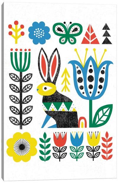 Folk Lodge (Rabbit) Canvas Print #WAC3907