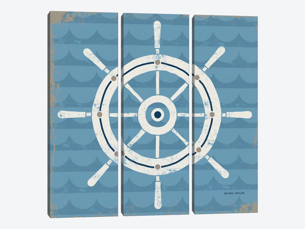 Nautical Helm by Michael Mullan 3-piece Canvas Print