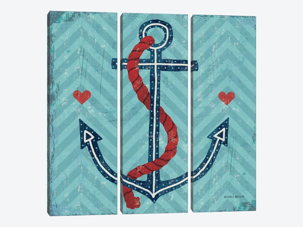 Nautical Love (Anchor) by Michael Mullan 3-piece Canvas Artwork