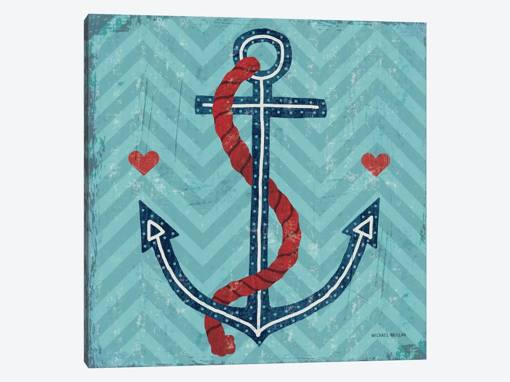 Nautical Love (Anchor) by Michael Mullan 1-piece Canvas Art