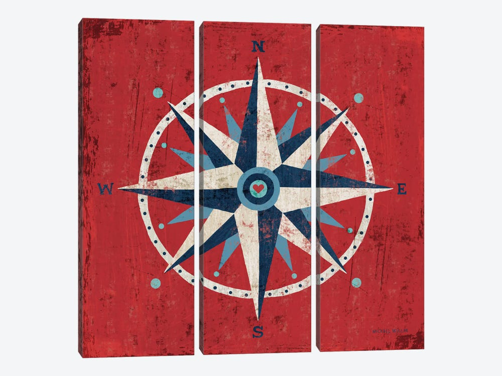 Nautical Love (Compass) by Michael Mullan 3-piece Art Print