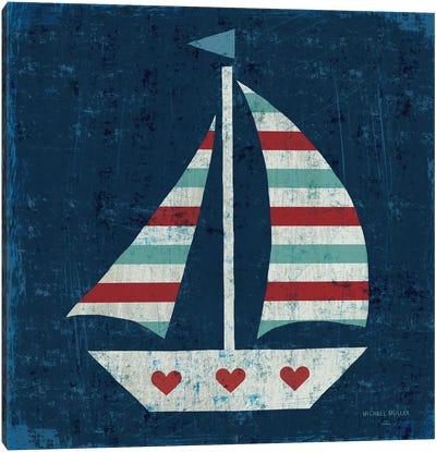 Nautical Love (Sail Boat I) Canvas Print #WAC3914