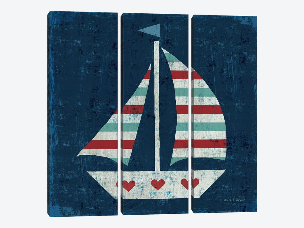 Nautical Love (Sail Boat I) by Michael Mullan 3-piece Canvas Print