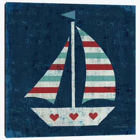 Nautical Love (Sail Boat I) Canvas Print #WAC3914} by Michael Mullan Art Print